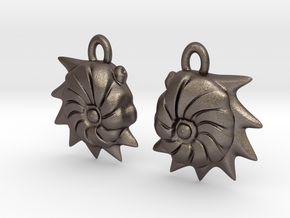 Cristellaria earrings in Polished Bronzed Silver Steel