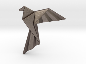 Origami Bird Pendant in Polished Bronzed Silver Steel