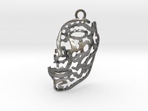 Nefertiti - face - pendant in Polished Nickel Steel