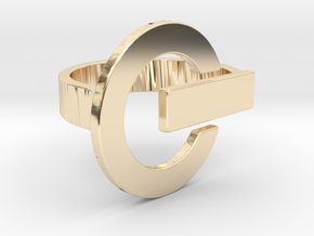 Power Button Ring - 20 mm in 14k Gold Plated Brass