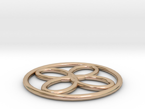 Spirograph Poi Flower Pendant in 14k Rose Gold