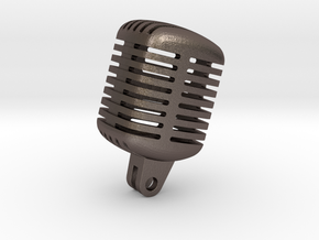 Microphone Studio in Polished Bronzed Silver Steel