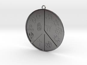Religious Peace Pendant in Polished Nickel Steel