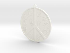 Religious Peace Pendant in White Processed Versatile Plastic