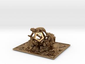 Reptiles & Dodecahedra mini sculpture Fine Art. in Natural Brass