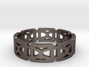 GeoLink sz 10.5 in Polished Bronzed Silver Steel