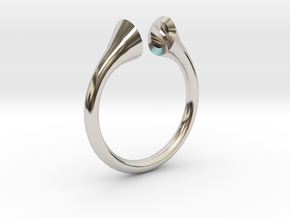 Gramaphonic Sharp Ring, US size 8, d=18 mm in Rhodium Plated Brass: 8 / 56.75