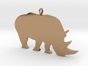 Rhino Silhouette Pendant in Polished Brass