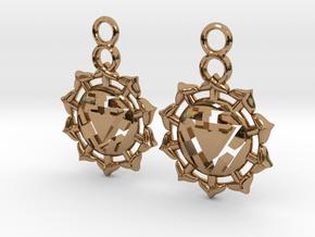 Chakra Manipura Earrings in Polished Brass