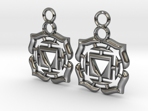 Chakra Muladhara Root Earrings in Fine Detail Polished Silver