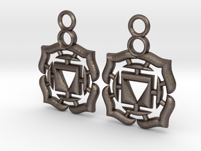 Chakra Muladhara Root Earrings in Polished Bronzed Silver Steel