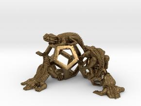 Reptiles & Dodecahedra mini sculpture Fine Art top in Natural Bronze