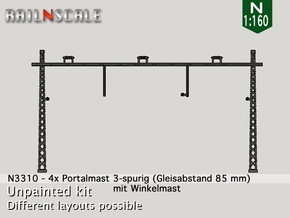 4x Portalmast 3-spurig (N 1:160) in Smooth Fine Detail Plastic