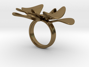 Petals ring - 20 mm in Polished Bronze