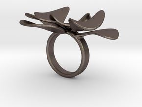 Petals ring - 20 mm in Polished Bronzed Silver Steel