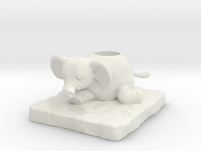 Elephant in White Natural Versatile Plastic