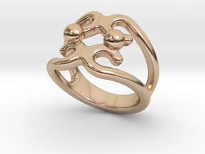 Two Bubbles Ring 19 - Italian Size 19 in 14k Rose Gold Plated Brass