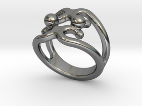 Two Bubbles Ring 27 - Italian Size 27 in Fine Detail Polished Silver