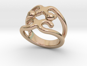 Two Bubbles Ring 28 - Italian Size 28 in 14k Rose Gold Plated Brass