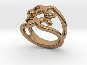 Two Bubbles Ring 32 - Italian Size 32 in Polished Brass