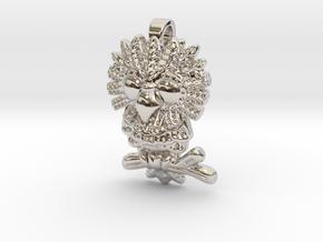 Owl Pendant in Rhodium Plated Brass