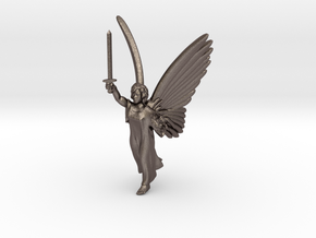 32mm Angel with sword in Polished Bronzed Silver Steel
