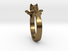 Cat Ring in Polished Bronze
