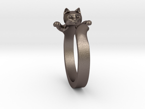 Cat Ring in Polished Bronzed Silver Steel