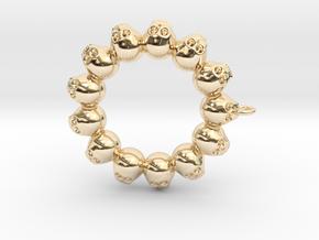 Thirteen Skull pendant in 14k Gold Plated Brass