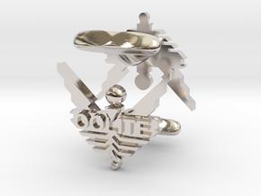 Oolite Cufflinks in Rhodium Plated Brass