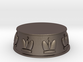 Chess King Base - 1 inch in Polished Bronzed Silver Steel