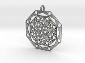 Mandala 10 Pendant in Raw Silver