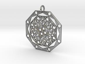Mandala 10 Pendant in Natural Silver