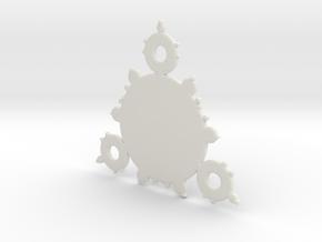 Mandelbrot 3 Leaf In Pendant in White Natural Versatile Plastic
