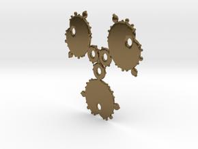 Mandelbrot 3 Leaf Out Pendant in Polished Bronze