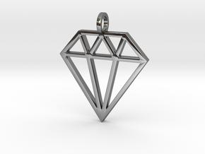 Pendant 'Diamond' in Fine Detail Polished Silver