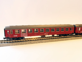 DSB class Bk coach N scale in Smooth Fine Detail Plastic