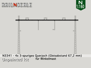 4x Querjoch 3-spurig (N 1:160) in Smooth Fine Detail Plastic