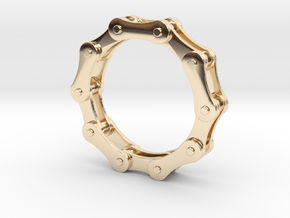Bicycle Chain Ring. US Size 7 in 14k Gold Plated Brass