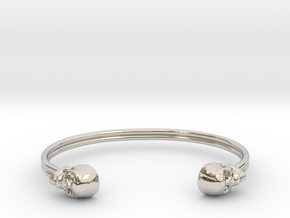 Double Banded Skull Cuff in Rhodium Plated Brass: Small