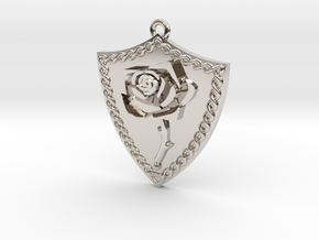 Rose Shield Pendant in Rhodium Plated Brass