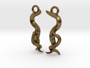 Caenorhabditis Nematode Worm Earrings in Polished Bronze
