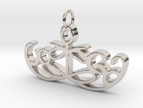 Yoga Glee Pendant Symbol and Text in Rhodium Plated Brass