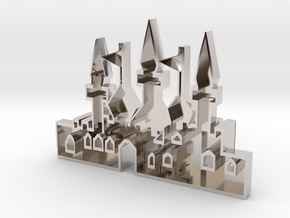 mold of an oriantal city in Rhodium Plated Brass
