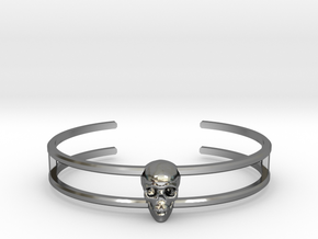 Double Stranded Single Skull Cuff in Fine Detail Polished Silver: Small