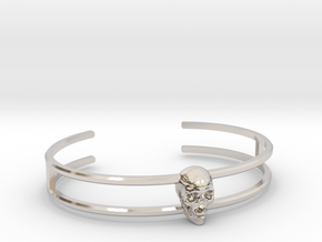 Double Stranded Single Skull Cuff in Rhodium Plated: Medium