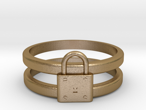 Padlock Double-banded Ring in Polished Gold Steel
