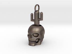 Skull Cactus 4 Cm in Polished Bronzed Silver Steel