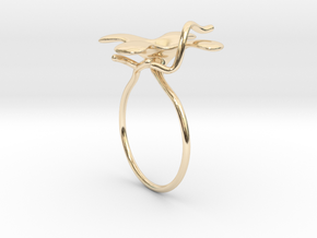 Flower ring - 16mm in 14k Gold Plated Brass