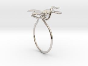 Flower ring - 16mm in Rhodium Plated Brass